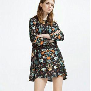 Zara Botanical Garden Floral Shift Tunic Dress